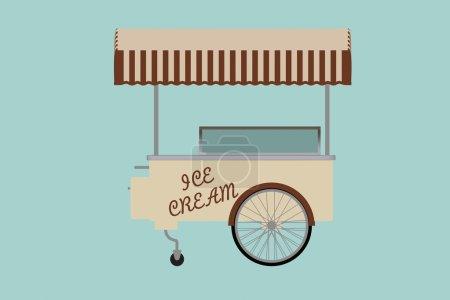 Flat Conceptual Illustration of Ice cream cart