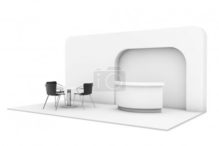 Photo for Trade Commercial Exhibition Stand on a white background. 3d rendering - Royalty Free Image