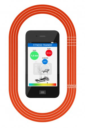 Mobile Phone with Fitness Tracker Application and Running Track
