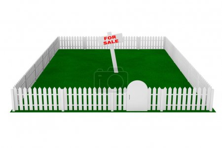 Yard with White Fence and For Sale Sign