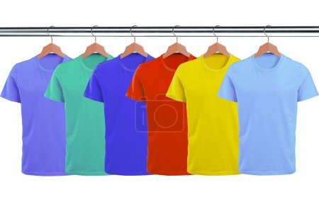 Photo for Lots of T-shirts on hangers isolated on white background - Royalty Free Image