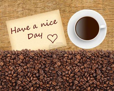 Photo pour Tasse de café, céréales et avoir une belle journée de massage sur une table en bois, vue sur le dessus - image libre de droit