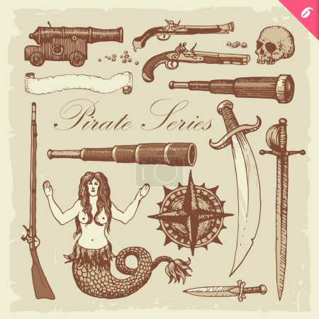 Illustration for Layered vector set featuring vintage pirate sketches - Royalty Free Image