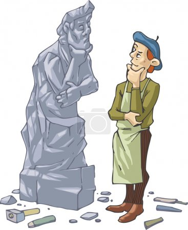 Sculptor And His Self Portrait