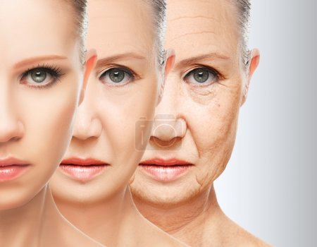 Photo for Beauty concept skin aging. anti-aging procedures, rejuvenation, lifting, tightening of facial skin, restoration of youthful skin anti-wrinkle - Royalty Free Image
