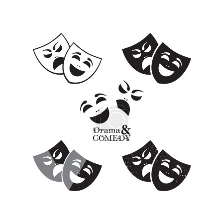 Illustration for Theater masks icons in different graphic styles - Royalty Free Image