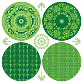Set of green circles designs in oriental style