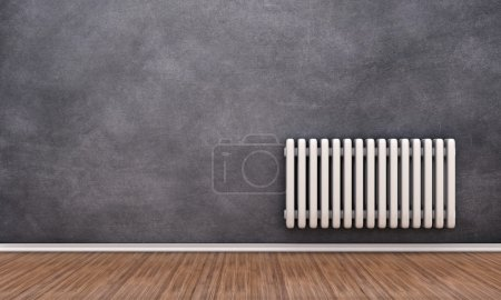 Radiator illustration on a wall in an empty room...