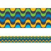 Copacabana Rio de janeiro beach seamless border Vector illustration colorful background Brazilian national colors