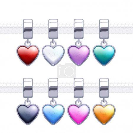 Assorted metal charm heart pendants