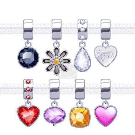 Assorted metal charm pendants