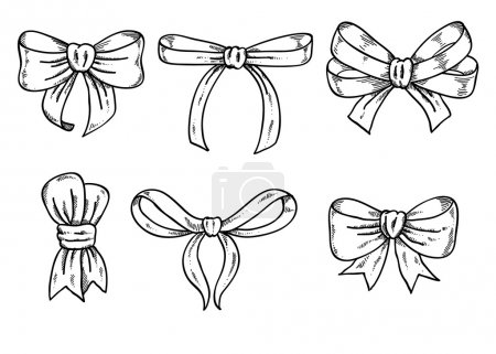 Illustration for Set of black and white hand drawn bows. Sketch style - Royalty Free Image