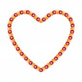 Golden chain shaped in heart form