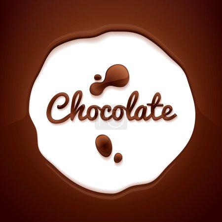 Illustration pour Fond chocolat. Espace rond entouré de chocolat fondu . - image libre de droit