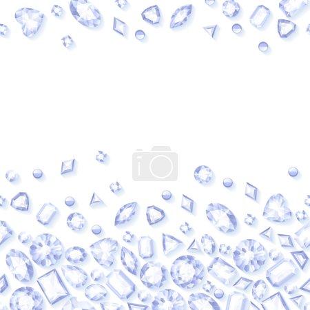 White jewels seamless horizontal background