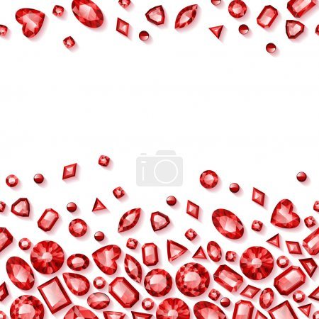 Red jewels seamless horizontal background