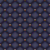 Seamless glam black velvet quilted background with golden heart shaped pins