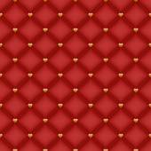 Seamless glam dark red velvet quilted background with golden heart shaped pins