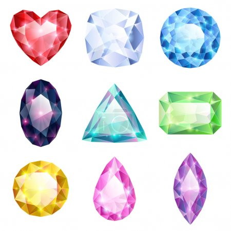 Set of realistic glowing colorful jewels. Differen...