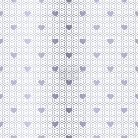 Seamless silver pattern with hearts
