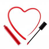 Heart painted of red lip gloss