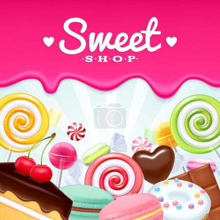 Different sweets colorful background. Lollipops, c...