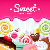 Different sweets colorful background Lollipops cake macarons chocolate bar candies and donut on shine background