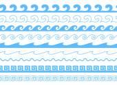 Set of sea waves brushes Wavy borders