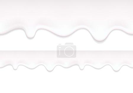 Illustration pour Le yaourt coule. Le lait blanc coule. Frontière horizontale sans couture - image libre de droit