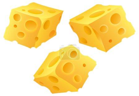 Illustration pour Cubes de fromage sur fond blanc - image libre de droit