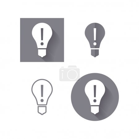 Light bulb, attention icon for user interface - flat style.