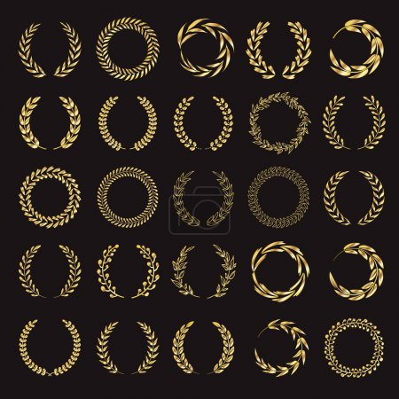 Illustration for Set of vector golden laurel wreaths. Vintage designs. Leaves and branches round frames. Black back. - Royalty Free Image