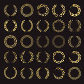 Set of vector golden laurel wreaths