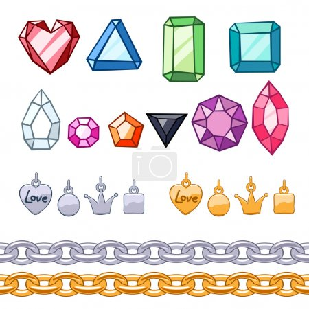 Set of gemstones,decorative elements and chains.