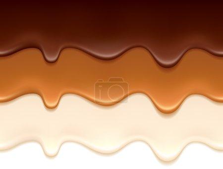 Illustration pour Gouttes de chocolat fondu, de caramel et de yaourt - bordures horizontales sans couture fixées . - image libre de droit