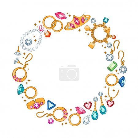 Jewelry items round frame background.