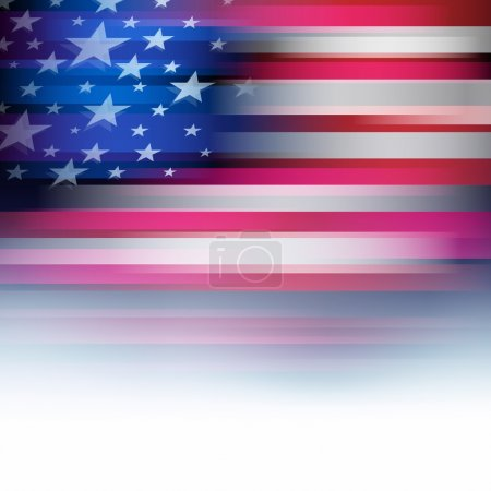 American flag in blur style, faded white.
