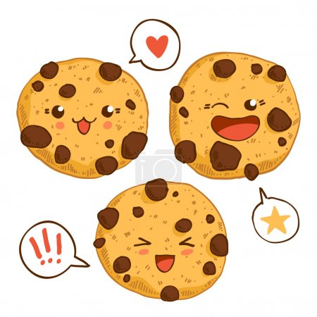Group of three cute kawaii cookies.
