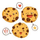 Group of three cute kawaii cookies