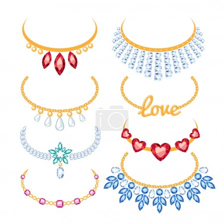 Set of beautyful golden necklaces with gemstones.