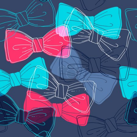 Illustration for Sketch style colorful bow ties seamless pattern. Dark background. Hand drawm accessories. - Royalty Free Image