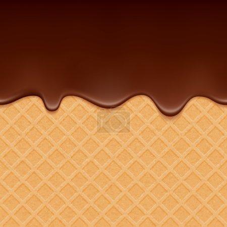 Illustration pour Gaufrette et chocolat fluide - fond vectoriel. Texture douce. Cerise douce . - image libre de droit