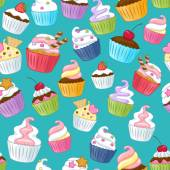 Seamless cupcakes pattern Colorful background Green back