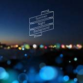 Vector seaside blurry summer night landscape with illuminated city horizon view Vacation travel holiday tour backdrop