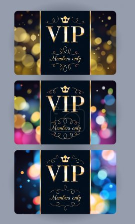 VIP cards with abstract bokeh background.