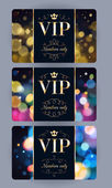 VIP cards with abstract bokeh background
