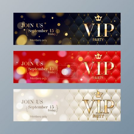Illustration for Set of colorful VIP party web site banners templates. Bokeh glow and quilted pattern backdrop. - Royalty Free Image