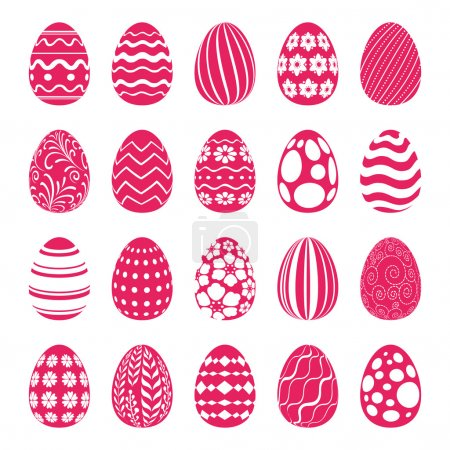 Set of Easter eggs decorated with ornaments.