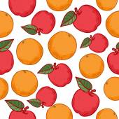 Oranges and apples seamless pattern Ripe fruits background Sketch hand drawn style