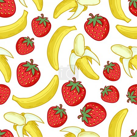 Strawberries and bananas seamless pattern.